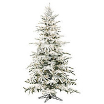Fraser Hill Farm 7 1/2 inch; Mountain Pine Flocked Artificial Christmas Tree With Smart String Lighting, White/Black