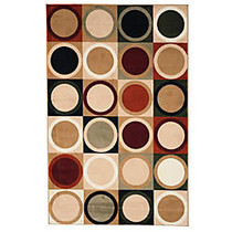 Lavish Home Area Rug, Contemporary Circles, 91 inch; x 60 inch;, Green/Ivory