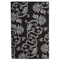Lavish Home Area Rug, Floral Scroll, 91 inch; x 60 inch;, Brown/Blue