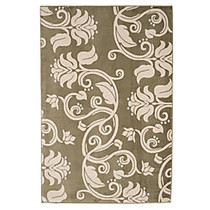 Lavish Home Area Rug, Floral Scroll, 91 inch; x 60 inch;, Green/Ivory
