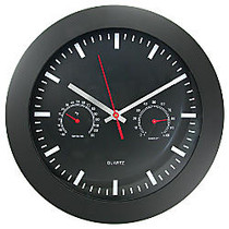 Timekeeper Round 12 inch; Black Wall Clock With Temperature And Humidity Gauges