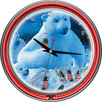 Trademark Global Coca-Cola Neon Clock, 14 inch; Diameter, Polar Bear With Coke Bottle and Cubs