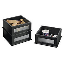 Victor; Midnight Black Collection™ Desktop Supply Stackers, 2 inch;H x 4 1/2 inch;W x 4 1/2 inch;D, Black, Pack Of 3