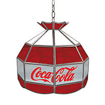 Trademark Global Vintage 1-Light Hanging Tiffany Lamp, 16 inch;H, Gray/Red/White Coca-Cola Shade