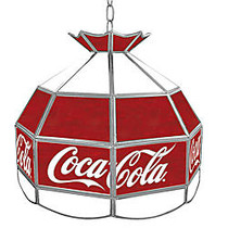 Trademark Global Vintage 1-Light Hanging Tiffany Lamp, Small Logo, 16 inch;H, Red Coca-Cola Shade