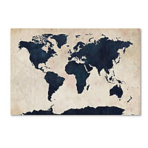 Trademark Global World Map Navy Gallery-Wrapped Canvas Print By Michael Tompsett, 30 inch;H x 47 inch;W