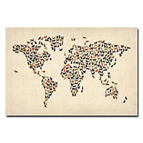Trademark Global World Map Of Cats Gallery-Wrapped Canvas Print By Michael Tompsett, 22 inch;H x 32 inch;W