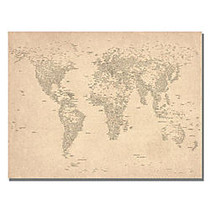 Trademark Global World Map Of Cities Gallery-Wrapped Canvas Print By Michael Tompsett, 22 inch;H x 32 inch;W