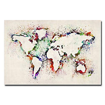 Trademark Global World Map Paint Splashes Gallery-Wrapped Canvas Print By Michael Tompsett, 22 inch;H x 32 inch;W