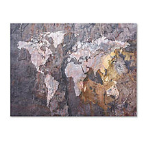 Trademark Global World Map Rock Gallery-Wrapped Canvas Print By Michael Tompsett, 35 inch;H x 47 inch;W