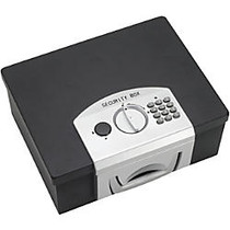 Steelmaster Electronic Security Box - Combination, Key, Digital Lock - Scratch Resistant, Fire Resistant, Chip Resistant - for Passport, Jewellery, Cash - Overall Size 6.3 inch; x 12.9 inch; x 11.1 inch; - Black - Steel