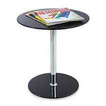 Safco; Glass Accent Table, Round, 19 inch;H x 17 1/2 inch;D, Black/Chrome