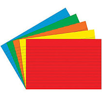 Top Notch Teacher Products; Bright Primary Lined Index Cards, 4 inch; x 6 inch;, Assorted Colors, 75 Cards Per Pack, Case Of 6 Packs