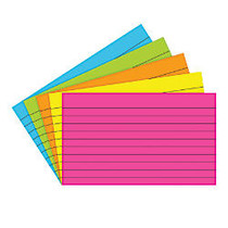 Top Notch Teacher Products; Brite Lined Index Cards, 3 inch; x 5 inch;, Assorted Colors, 75 Cards Per Pack, Case Of 10 Packs
