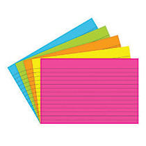 Top Notch Teacher Products; Brite Lined Index Cards, 4 inch; x 6 inch;, Assorted Colors, 75 Cards Per Pack, Case Of 6 Packs