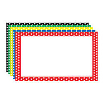 Top Notch Teacher Products; Polka Dot Border Index Cards, 3 inch; x 5 inch;, Assorted Colors, 75 Cards Per Pack, Case Of 6 Packs