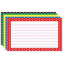Top Notch Teacher Products; Polka Dot Border Lined Index Cards, 3 inch; x 5 inch;, Assorted Colors, 75 Cards Per Pack, Case Of 6 Packs