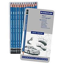 Staedtler; Mars; Lumograph Design Pencil Set, Blue Barrel, Black Lead, Set Of 12
