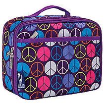 Wildkin Polyester Lunch Box, 9 3/4 inch;H x 7 inch;W x 3 1/4 inch;D, Purple Peace Signs