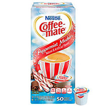 Nestle; Coffee-mate; Liquid Creamer Singles, Peppermint Mocha, 0.38 Oz, Box Of 50