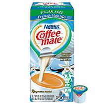 Nestle; Coffee-mate; Liquid Creamer Singles, Sugar-Free, French Vanilla, 0.38 Oz, Box Of 50