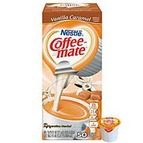 Nestle; Coffee-mate; Liquid Creamer Singles, Vanilla Caramel, 0.38 Oz, Box of 50