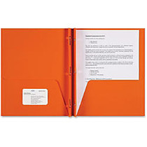 Sparco Two-pocket 3-Prong Leatherette Portfolio - Letter - 8 1/2 inch; x 11 inch; Sheet Size - 3 x Double Prong Fastener(s) - 2 Internal Pocket(s) - Leatherette Paper - Orange - 25 / Box