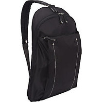WIB Miami City Slim Backpack for up-to 14.1 inch; Notebook , Tablet, eReader - Black - Twill Polyester
