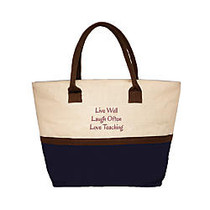 The Master Teacher Live, Laugh, Love Jute Tote, Navy/Natural