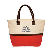 The Master Teacher Live, Laugh, Love Jute Tote, Red/Natural
