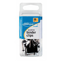 Swingline; Scratch-Resistant Binder Clips, Assorted Sizes, Black, Pack Of 15