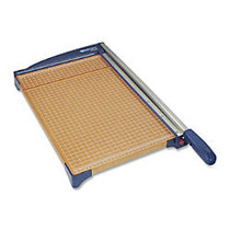 Westcott Paper Trimmer - Cuts 10Sheet - 15 inch; Cutting Length - 3.5 inch; Height x 25.6 inch; Width x 14.3 inch; Depth - Stainless Steel Blade, Wood Base - Blue, Wood Grain