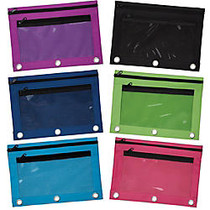 Pencil Pouch With Mesh Window, 7 inch; x 9 3/4 inch;, Assorted Colors