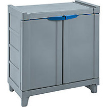 Rimax Small Wall Storage Cabinet, 2 Shelves, 27 13/16 inch;H x 25 13/16 inch;W x 15 15/16 inch;D, Gray/Blue