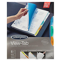 Wilson Jones; View-Tab; Transparent Dividers, 5-Tab, Square, Multicolor, Pack Of 5 Sets