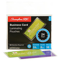 Swingline™ GBC; SelfSeal™ NoMistakes™ Repositionable Laminating Pouches, Business Card, 2.5 inch; x 3.94 inch;, 8 Mils, Pack Of 10