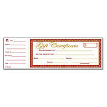 Adams; 1-Part Gift Certificates, 3 1/4 inch; x 10 3/4 inch;, White, Pack Of 25