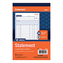 Adams; All-Purpose Statement Books, 2-Part, 8 1/2 inch; x 5 1/2 inch;, White, 50 Sets Per Book