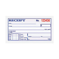 TOPS Manifold Receipt Books - 2 Part - Carbonless Copy - 5 inch; x 2.75 inch; Sheet Size - Assorted Sheet(s) - Blue Print Color - 1 Each