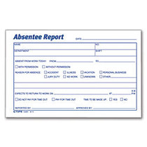 TOPS; Absentee Report, 6 inch; x 4 inch;, Pack Of 100