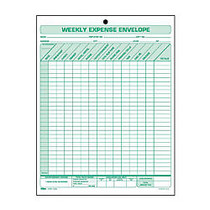 TOPS Weekly Expense Envelope Form - Double Sided Sheet - 8.50 inch; x 11 inch; Sheet Size - 1 x Holes - White Sheet(s) - Green Print Color - 20 / Pack