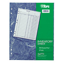 TOPS; Inventory Sheets, 11 inch; x 8 1/2 inch;, Pack Of 2 Pads