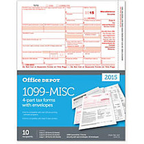 Office Wagon; Brand 1099-MISC Inkjet/Laser Tax Forms, With Envelopes, 4-Part, 8 1/2 inch; x 11 inch;, Pack Of 10