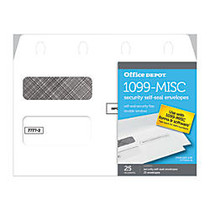 Office Wagon; Brand Double-Window Self-Seal Envelopes For 1099-MISC Laser Tax Forms, 5 5/8 inch; x 9 inch;, White, Pack Of 25