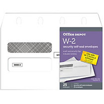 Office Wagon; Brand Double-Window Self-Seal Envelopes For W-2 Forms, 5 5/8 inch; x 9 1/4 inch;, White, Pack Of 25