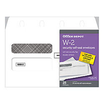 Office Wagon; Brand Self-Seal Envelopes For W-2 Forms, 5 5/8 inch; x 9 1/4 inch;, White, Pack Of 25