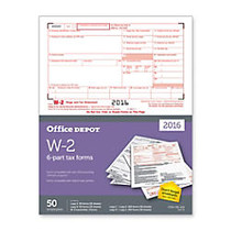 Office Wagon; Brand W-2 Inkjet/Laser Tax Forms, 2-Up, 6-Part, 8 1/2 inch; x 11 inch;, White, Pack Of 50 Forms