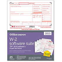 Office Wagon; Brand W-2 Laser Forms And Software Set, 6-Part, 8 1/2 inch; x 11 inch;, Pack Of 25