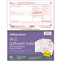 Office Wagon; Brand W-2 Laser Forms And Software Set, 6-Part, 8 1/2 inch; x 11 inch;, Pack Of 50
