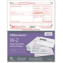 Office Wagon; Brand W-2 Laser Tax Forms And Envelopes, 6-Part, 8 1/2 inch; x 11 inch;, Pack Of 10